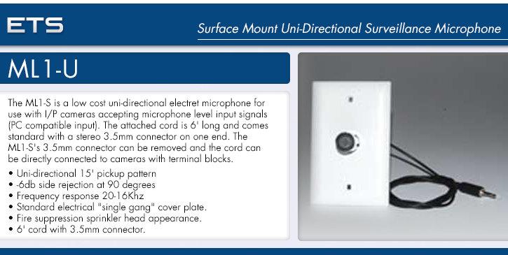 ets ml1-u surface mount uni-directional surveillance microphone