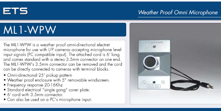 ets ml1-wpw weather proof omni microphone