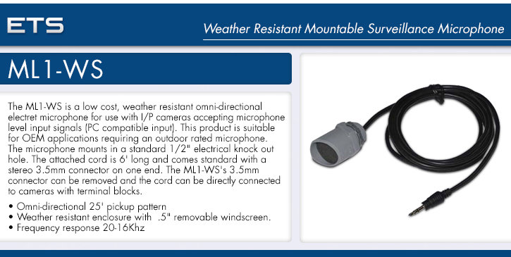 ets ml1-ws weather resistant mountable surveillance microphone