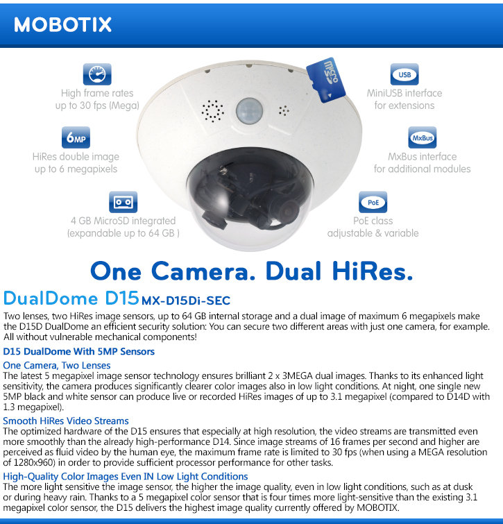 Mobotix MX-D15DI-SEC DualDome D15 HD IP Security Camera