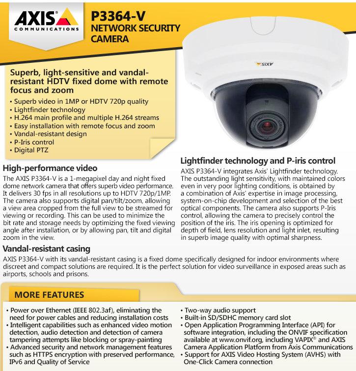 axis p3364-v ip security camera