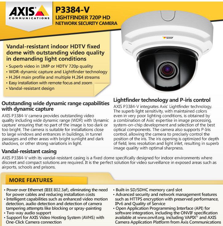 axis p3384-v lightfinder 720p hd ip security camera