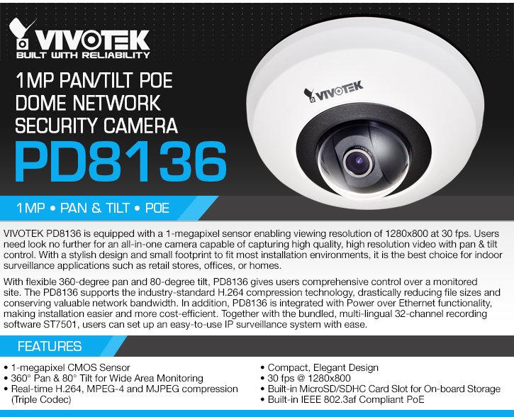 vivotek pd8136 1mp pan/tilt poe dome ip security camera