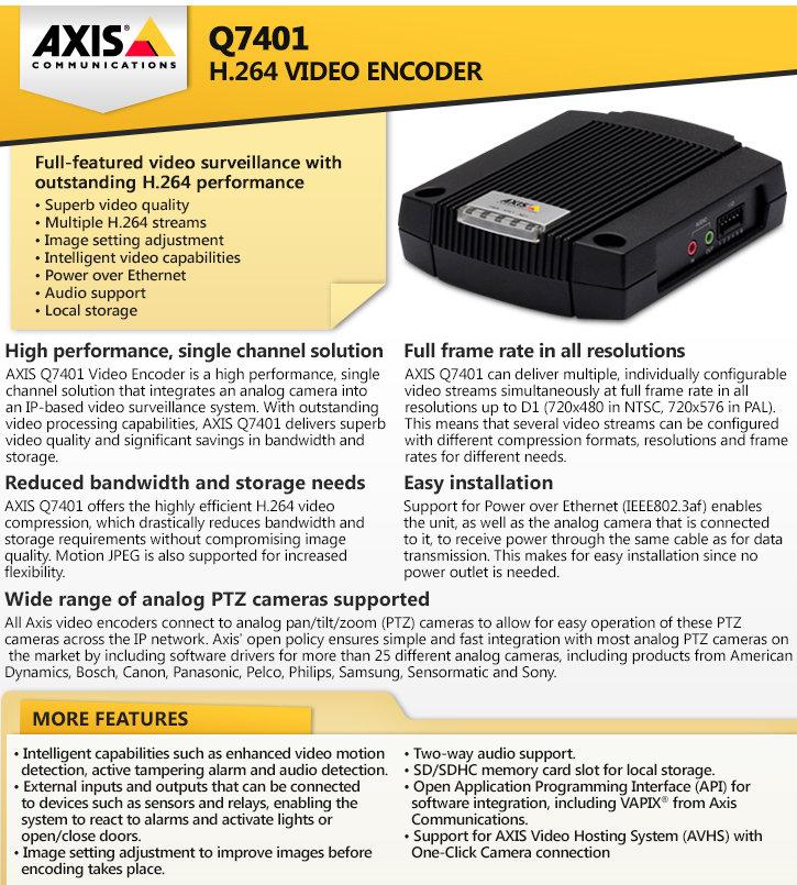 axis q7401 h.264 video encoder
