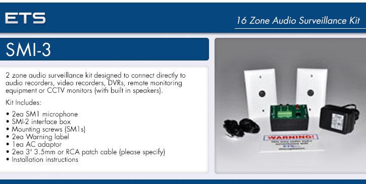 ets smi-3 2 zone audio surveillance kit