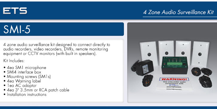 ets smi-5 4 zone audio surveillance kit