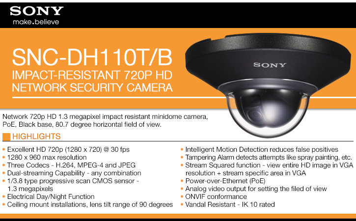 sony snc-dh110t/b impact-resistant 720p hd ip security camera