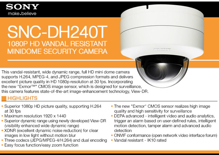 sony snc-dh240t 1080p hd minidome ip security camera
