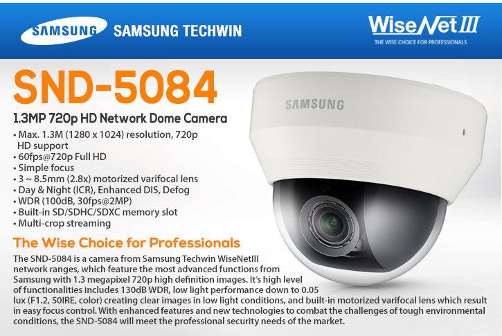 Samsung SND-5084 1.3MP Indoor HD Network Dome Camera