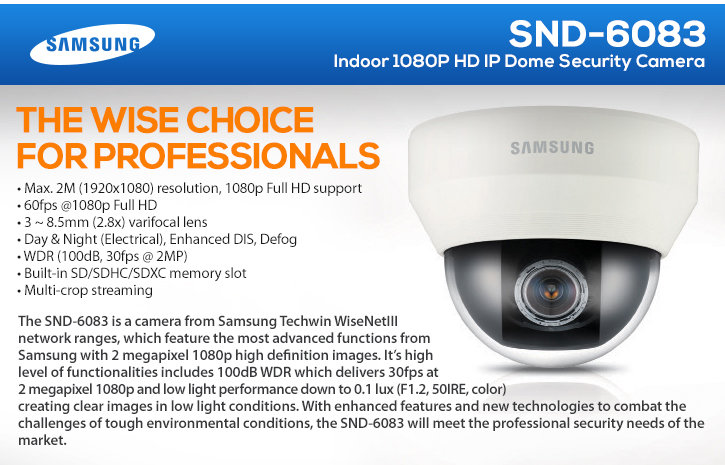 samsung snd-6083 indoor 1080p hd ip dome security camera