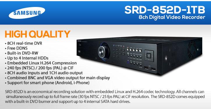 samsung srd-852d 8ch digital video recorder (1tb storage)