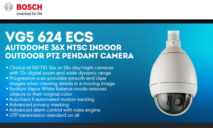 bosch vg5-624-ecs autodome 36x ntsc indoor/outdoor ptz pendant camera