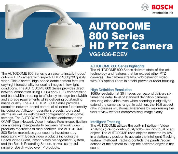 Bosch VG5-836-ECEV AutoDome 800 1080P HD 20x PTZ IP Security Camera