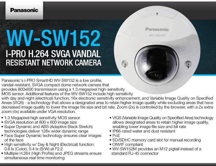 panasonic wv-sw152 i-pro h.264 svga vandal resistant ip camera