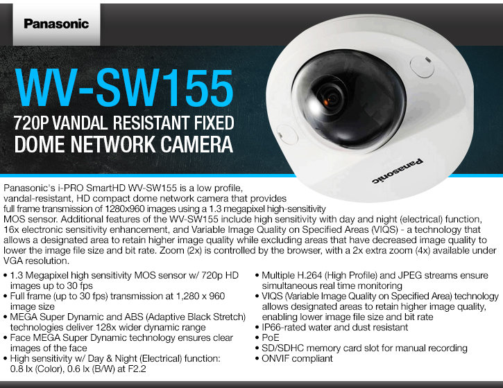 panasonic wv-sw155 720p vandal resistant fixed dome ip camera