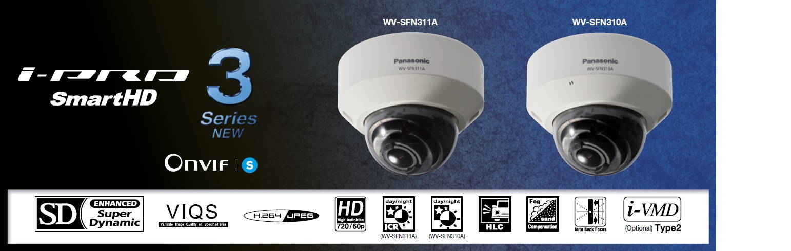 Panasonic WV-SFN311A 1MP Dome IP Security Camera - 2.8~10mm Varifocal Lens, WDR, Day/Night