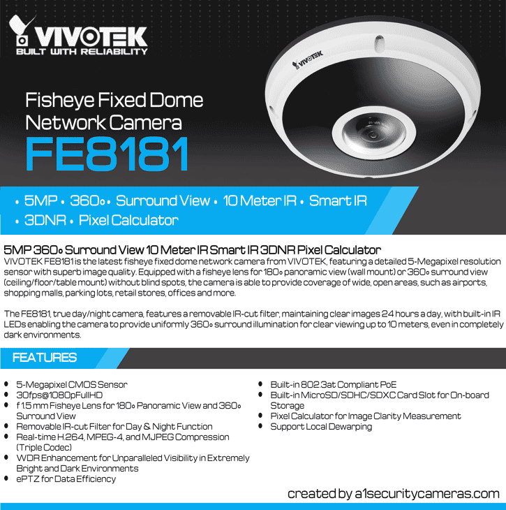 Vivotek FE8181 5MP 360-degree IR Indoor Fisheye IP Security Camera -  Surround View
