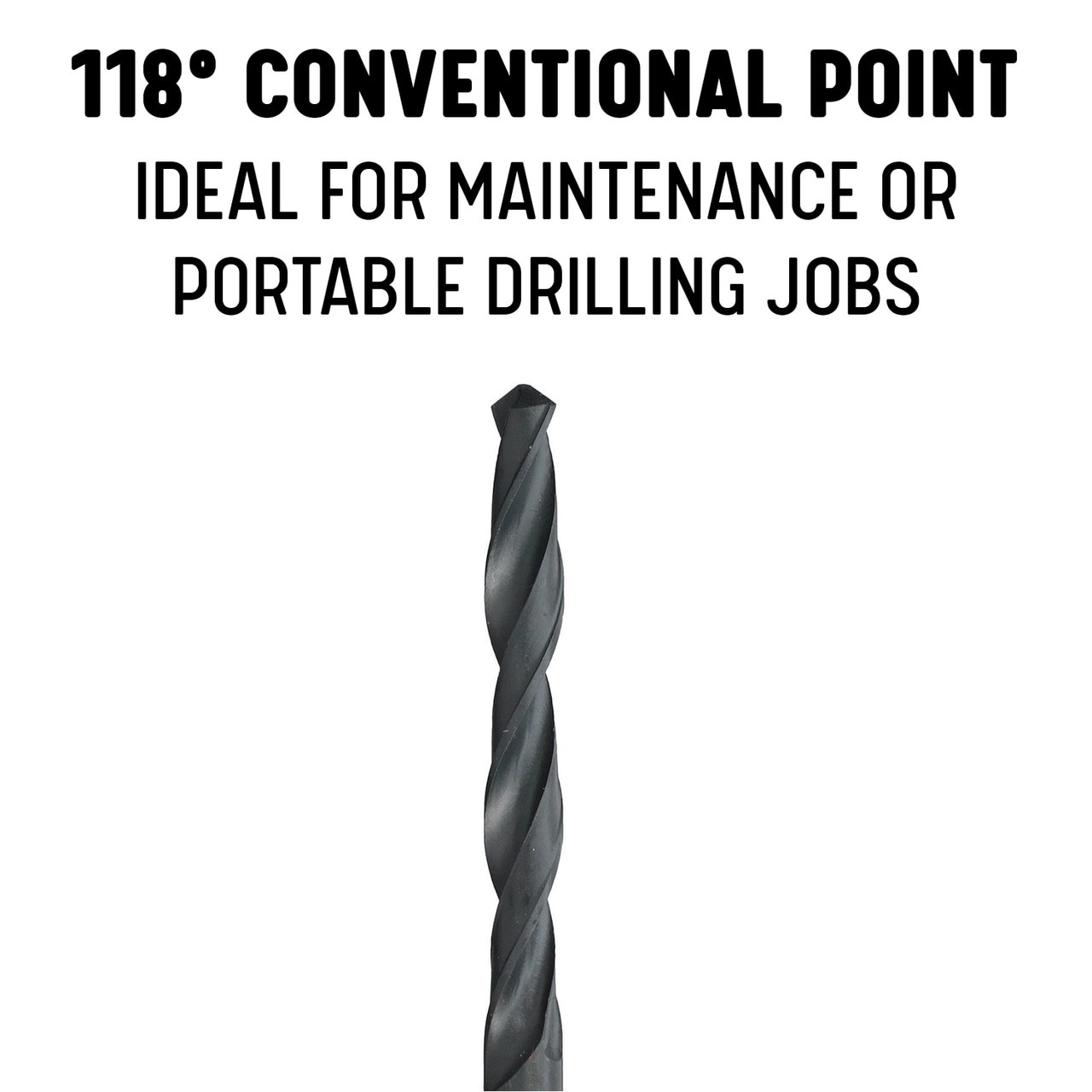 Black Oxide Coated Precision Twist Drill 018041 Series R18 PTD18041 #41 Size Jobber Length HSS Drill PART NO