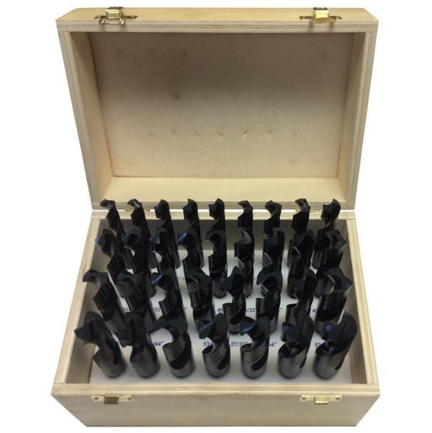 """1/2""""-1""""x64ths 33 Piece HSS Reduce Shank Drill Bit Set, Wood Case, Qualtech"""