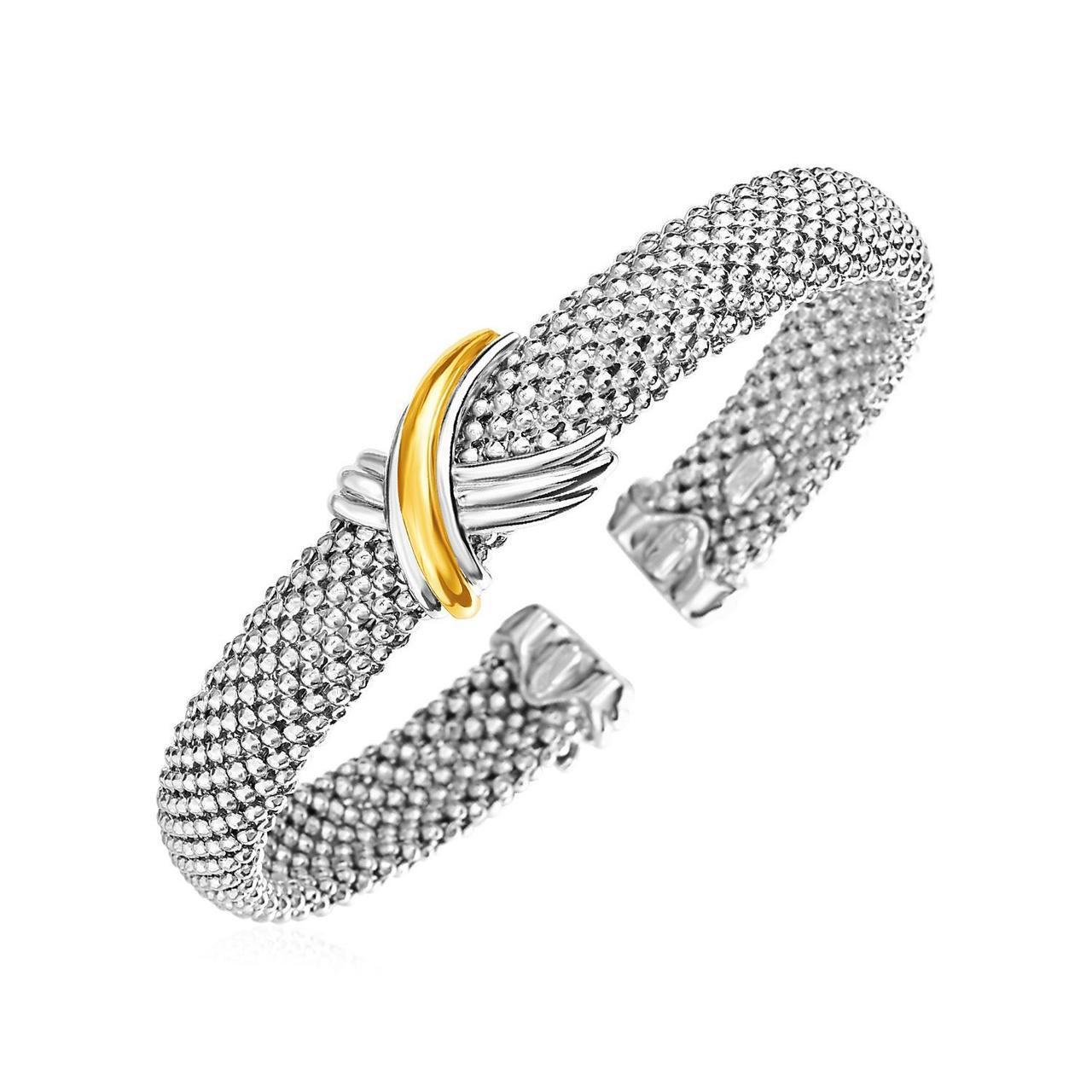 6333e148f84 Phillip Gavriel Womens Popcorn X Motif Cuff Bracelet in Sterling Silver and  18k