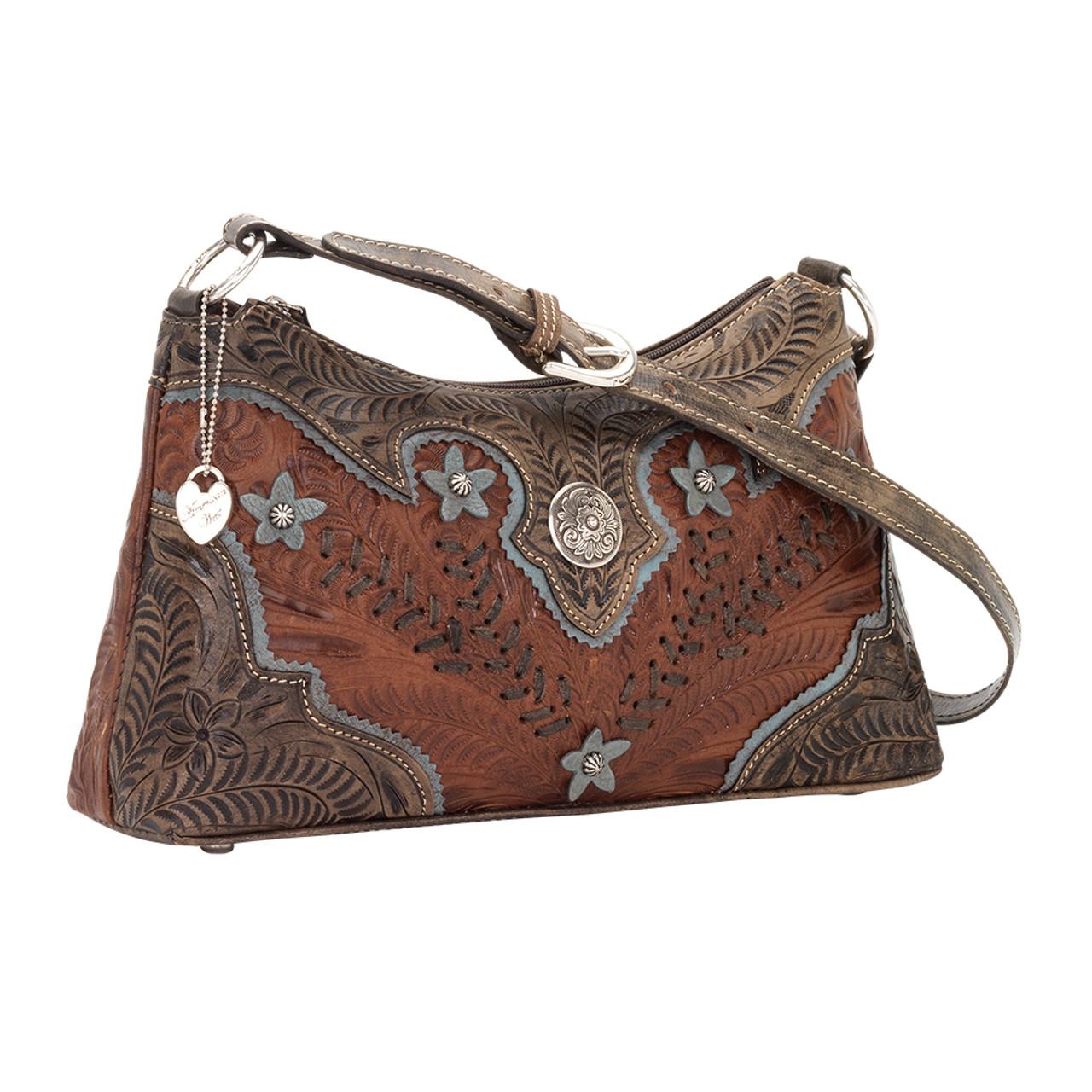 04243143d1 American West Desert Wildflower Hand-Tooled Zip-Top Shoulder Bag -Antique  Brown