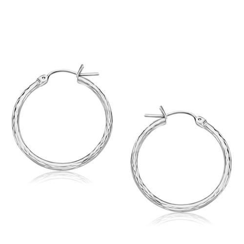 Diamond Cut Hoop Earrings in 14k White Gold (25mm Diameter)