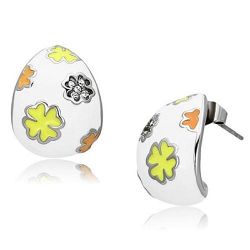 Stainless Steel White with Flowers and Crystals Earrings