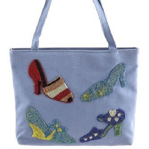Beaded Shoes Design Lavender Tote Handbag