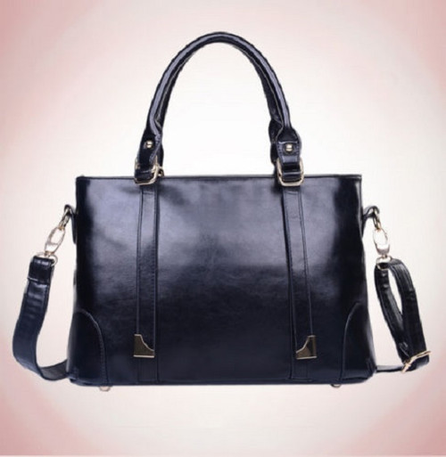 Black Leather and PU Leather Satchel Handbag with Shoulder Strap