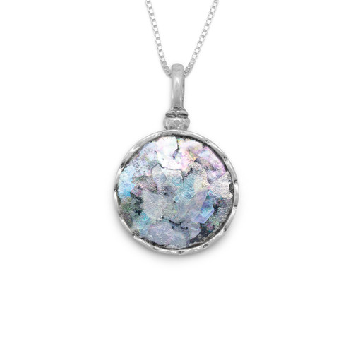 """Small Round Ancient Glass 18"""" Necklace in Sterling Silver"""