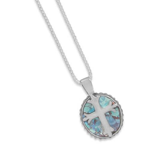 Oval Roman Glass Cross Necklace Sterling Silver