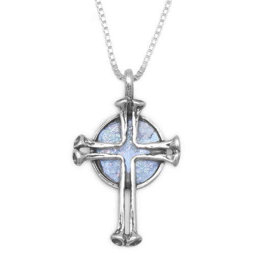 Round Ancient Roman Glass with Cross Necklace in Sterling Silver - Cert of Authenticity