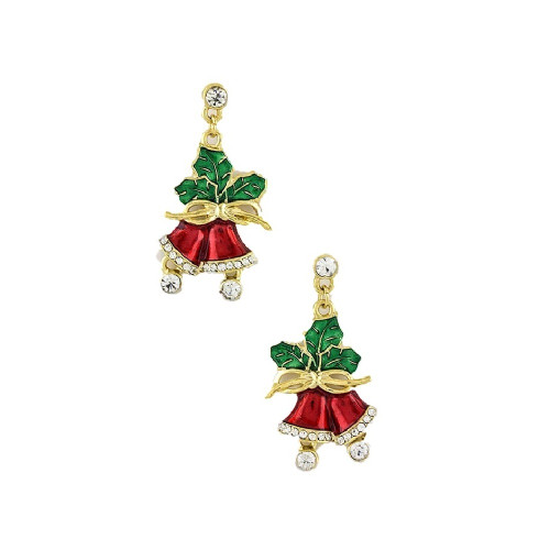 Red Enamel Christmas Bells with Holly Earrings Crystal Accents