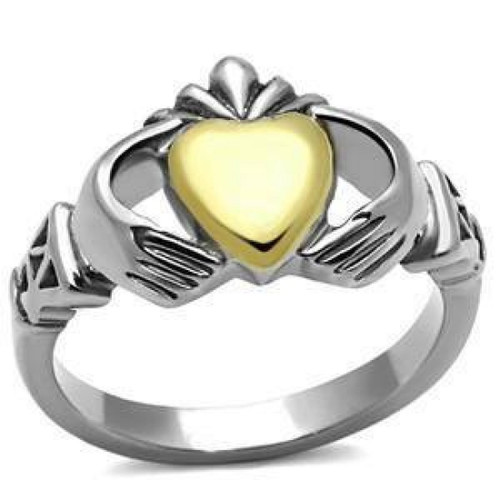 Stainless Steel Claddagh Gold Plated Heart Ring