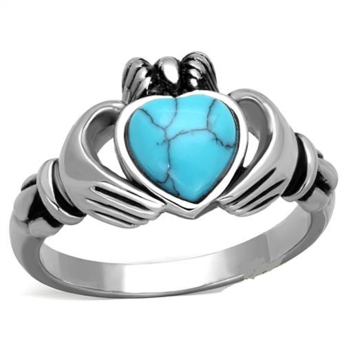 Stainless Steel Claddagh Heart Ring Synthetic Turquoise