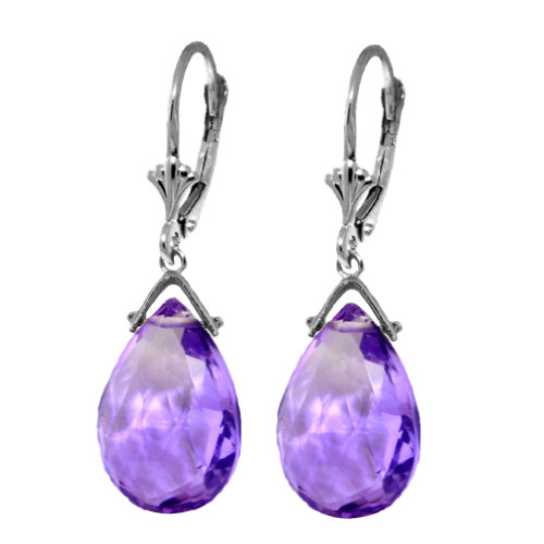 Sterling Silver 10.2 Carat Purple Amethyst Briolette Leverback Drop Earrings