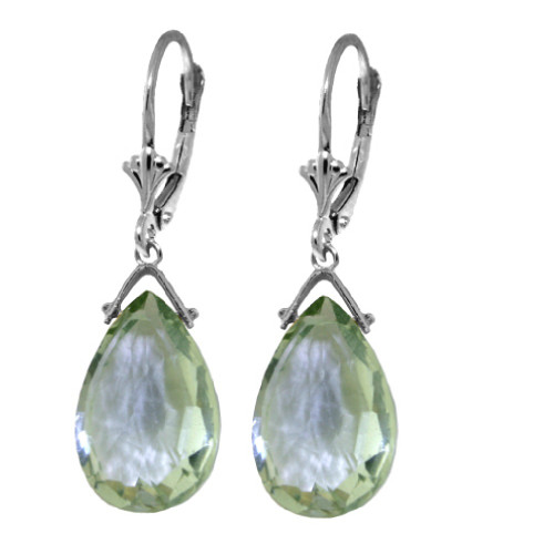 Sterling Silver 10.2 ct Green Amethyst Briolette Leverback Drop Earrings