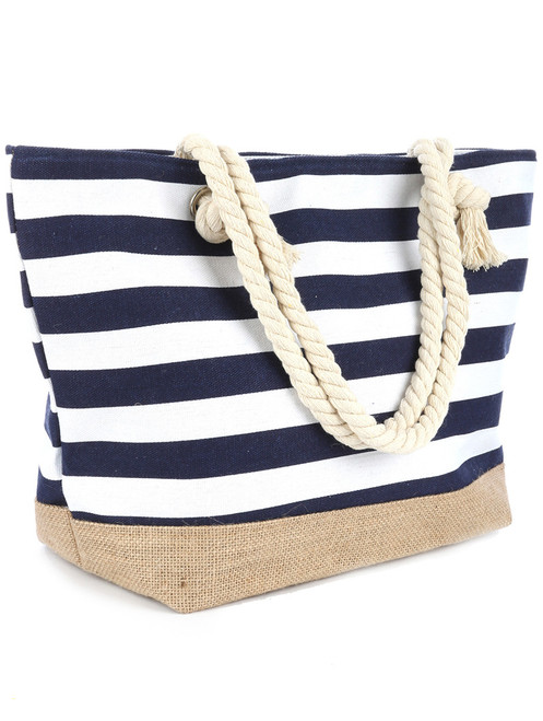 Navy Striped Canvas Beach Bag Tote Handbag