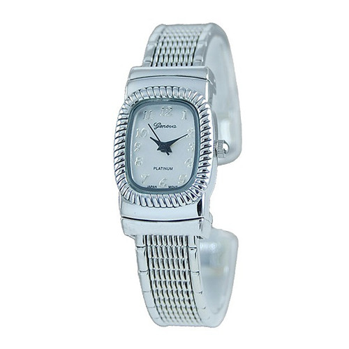 Geneva Platinum Womens Classic Contemporary Cuff Watch Silver Plated Stainless Steel