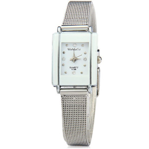 WoMaGe Thin Fashion Watch  White Rectangle Dial Silver Alloy Band