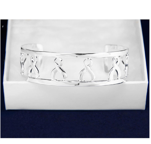 Breast Cancer Awareness Silver Cuff Bracelet Ribbons for Support Gift Box