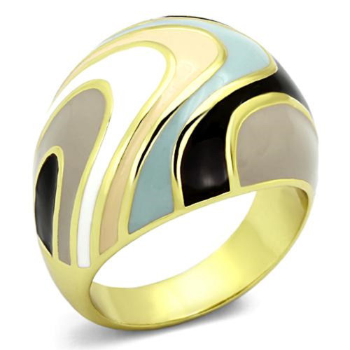Gold Plated Stainless Steel Dome Style Ring Multi-Color Swirl Design