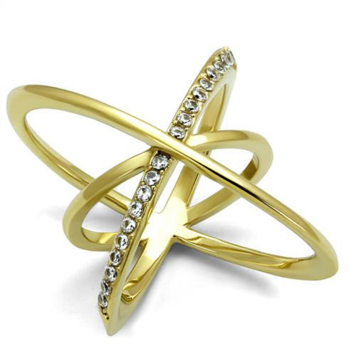 Gold Plated Stainless Steel Geometric Ring CZ Accents