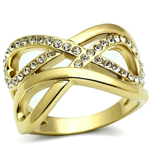 Double Infinity Ring Ion Gold Plated Crystal Accents - Size 6