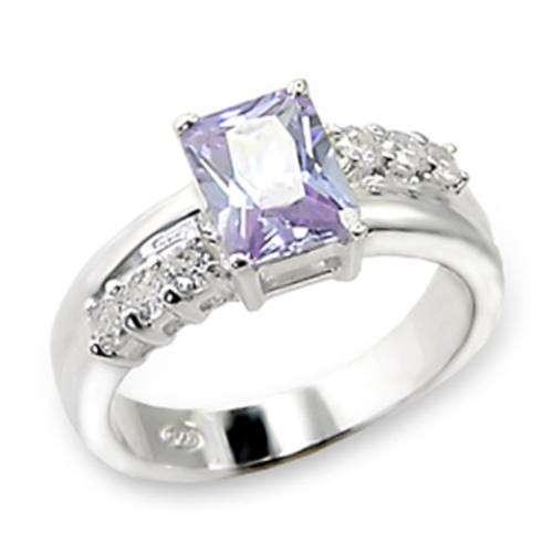 Sterling Silver CZ Ring Light Amethyst Color Size 6