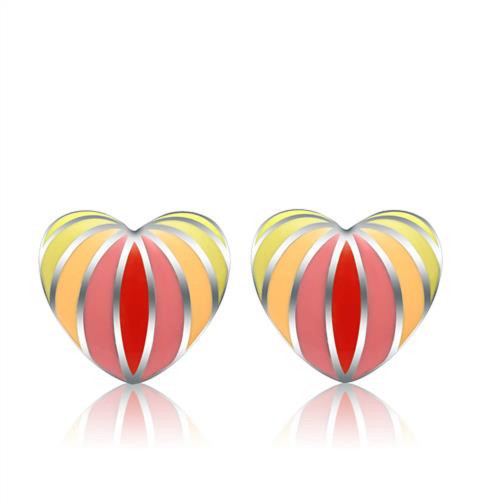 Stainless Steel Heart Stud Earrings Red, Pink, Yellow
