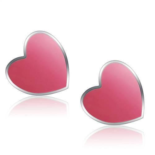 Stainless Steel Red Heart Stud Earrings