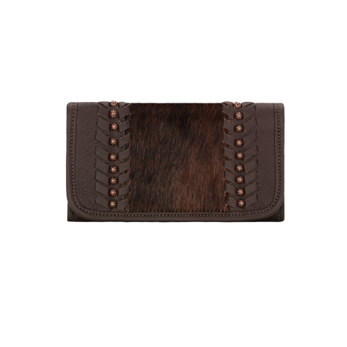American West Cow Town Ladies' Tri-Fold Wallet Chocolate