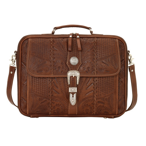 American West Retro Romance Leather Laptop Briefcase