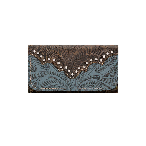 American West Annie's Secret Collection Ladies' Tri-Fold Wallet Distressed Charcoal Brown